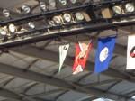 青の旗は茨城県の旗…